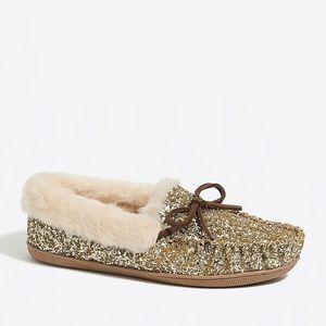 J.Crew Gold Glitter Shearling Faux Fur Slippers 7
